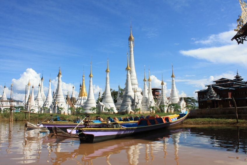 Buddhist stupas on Inle lake, Myanmar