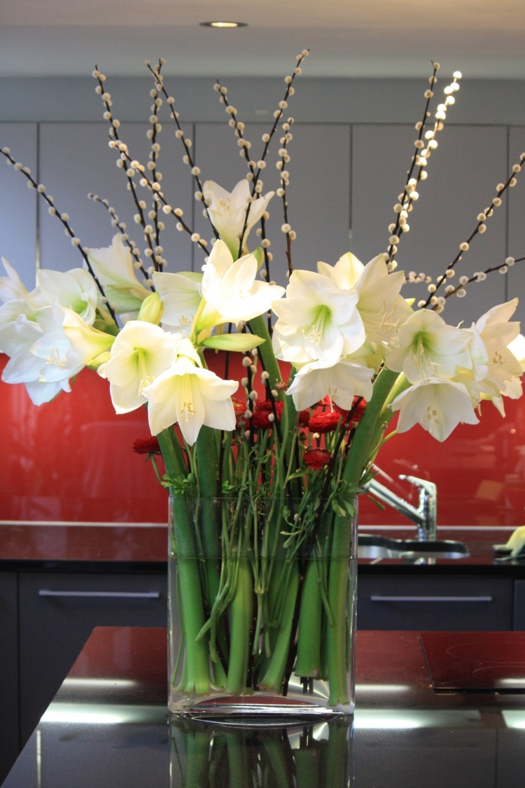 White Amaryllis with pussy willow and Ranunculus