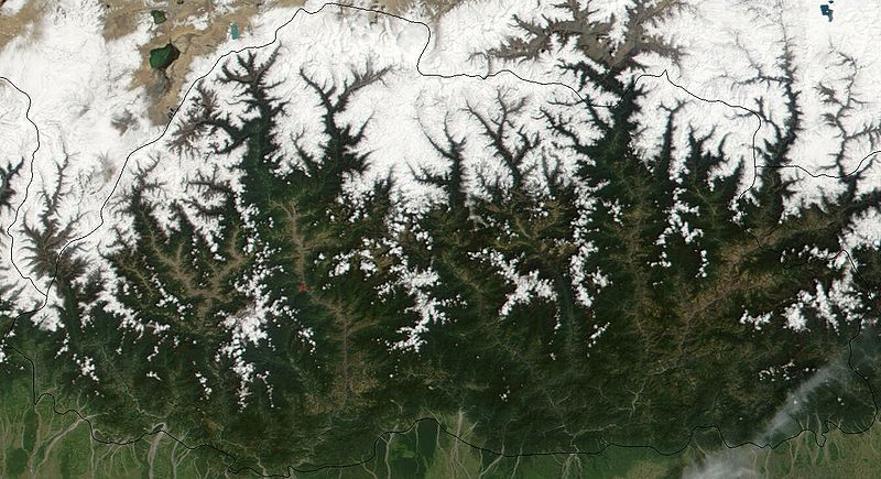 Bhutan from space. NASA image