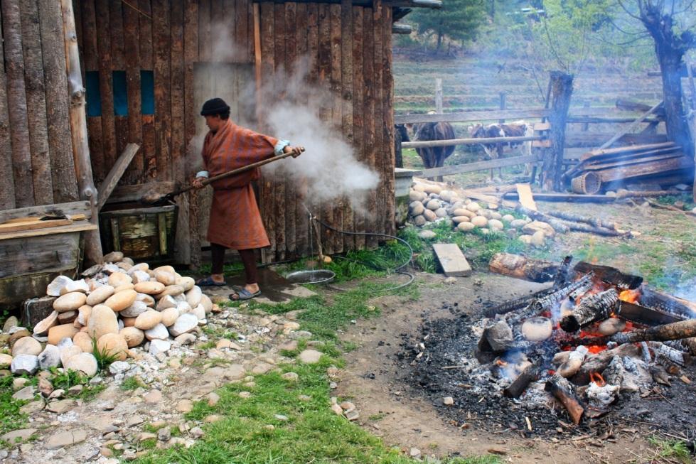 Hot stone bath, Bumthang, Bhutan, April 2013