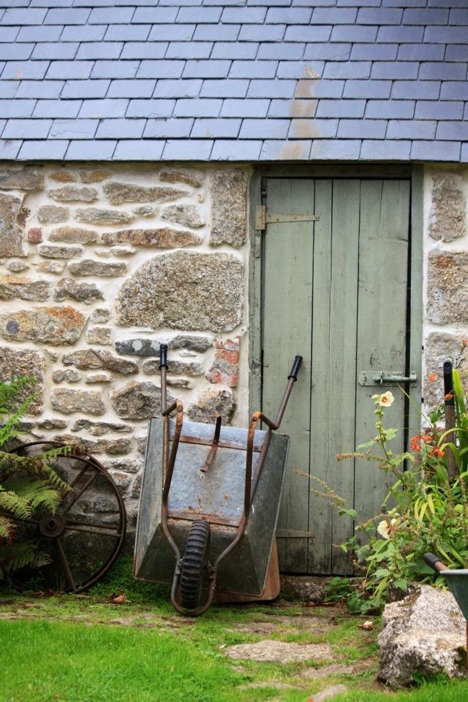 Wheelbarrow outside the stables, Trevoole Farm, August 2013