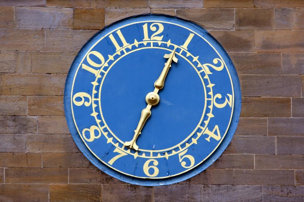 Clocktower clockface, Wallington Hall, Northumberland, July 2013