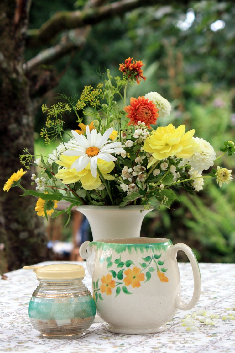 Cream and yellow flower arrangement at Trevoole Farm, August 2013