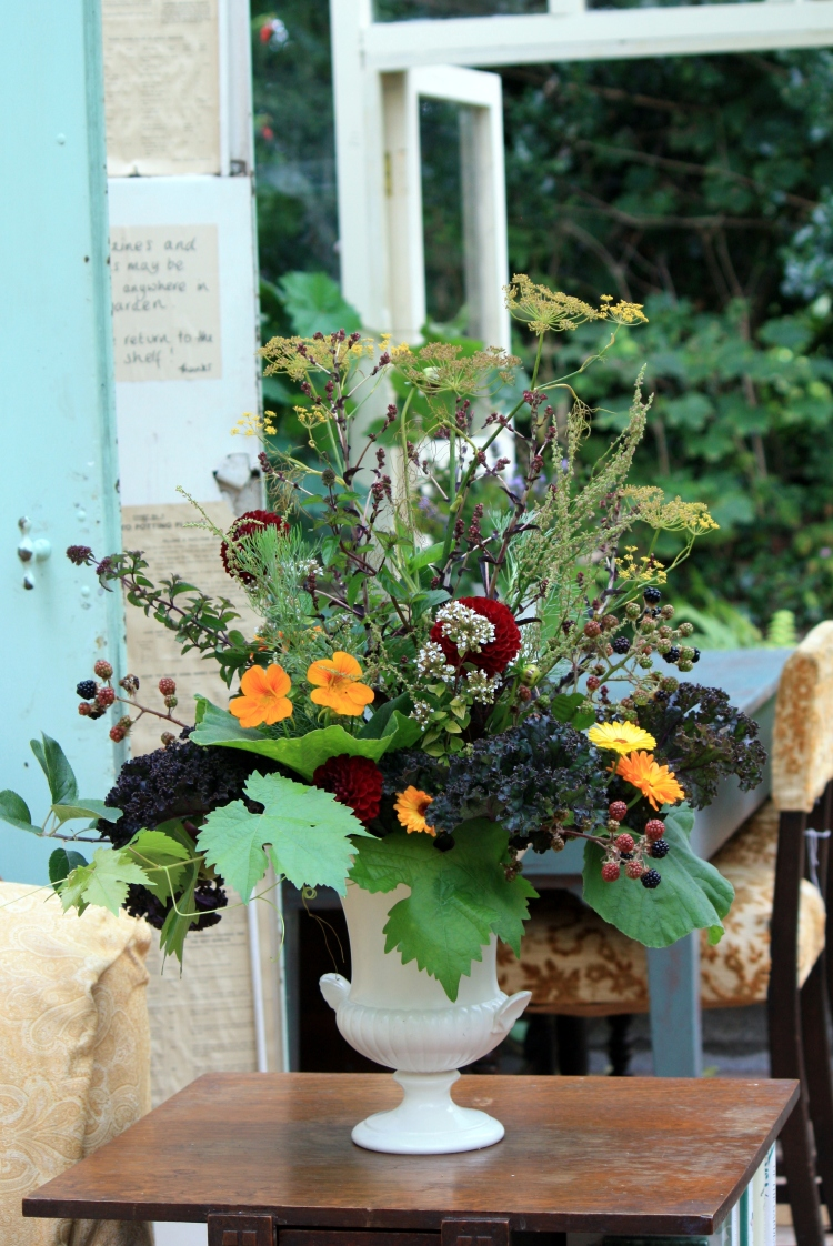 Arrangement of herbs, brambles, vines and edible flowers, Trevoole Farm, August 2013