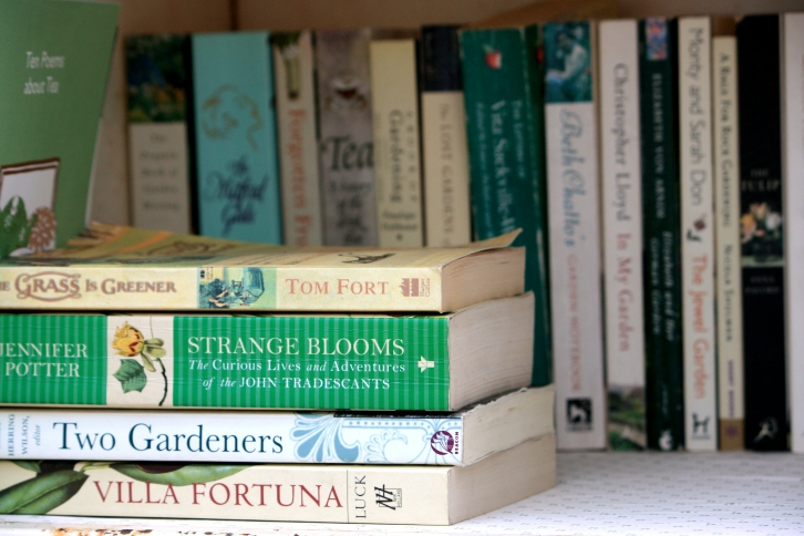 Books in the greenhouse at Trevoole Farm, August 2013