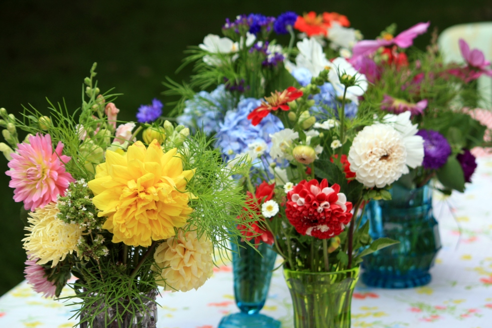 Flower arrangements at Trevoole Farm. August 2013