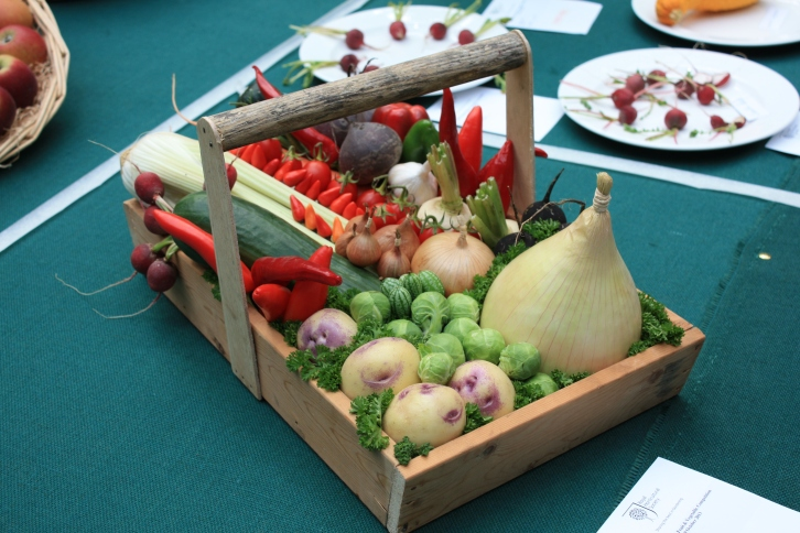 A trug of mixed vegetables, RHS London Harvest Festival Show 2013