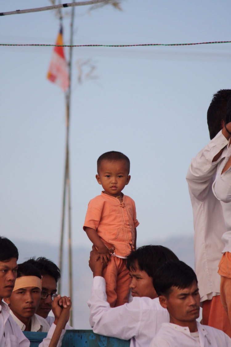 Baby Boy taking part in Phaung Daw Oo Pagoda Festival, Inle Lake, October 2012