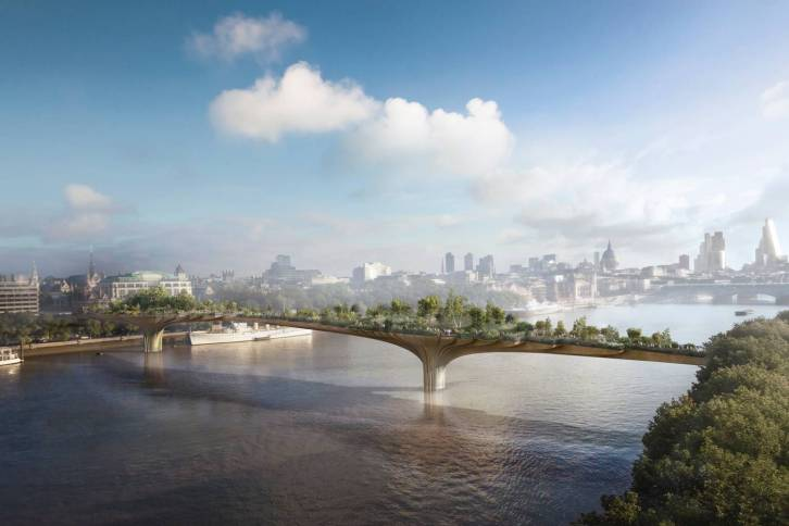 The Garden Bridge will span the river between Temple in the north and the South Bank