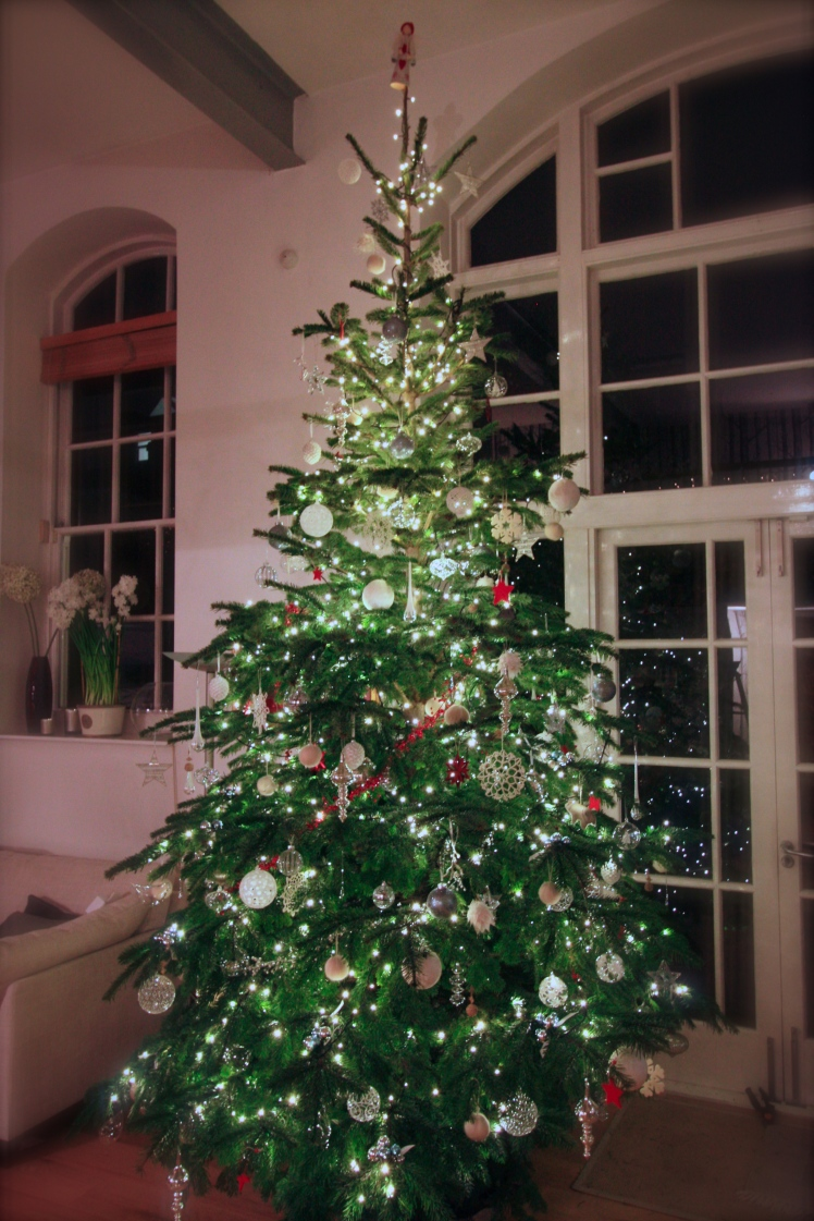 A Nordmann fir, about 14ft tall, will be the centrepiece in our living space