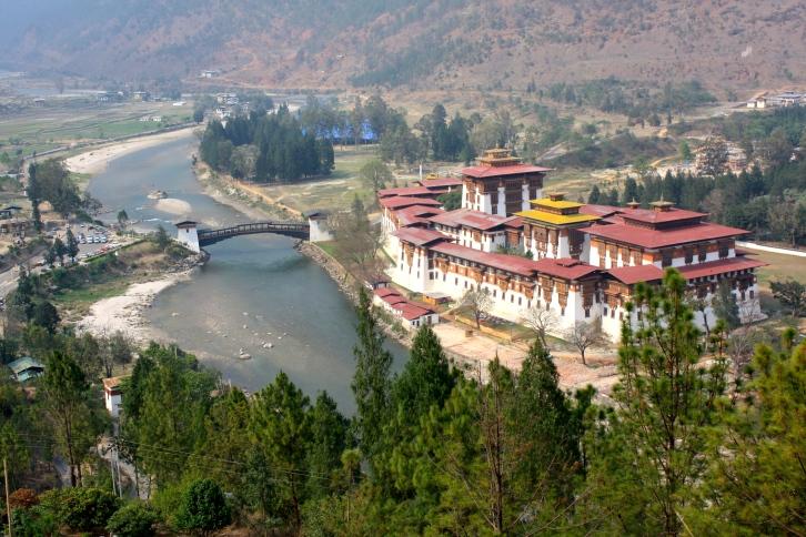 Phunaka Dzong from above, Bhutan, April 2013