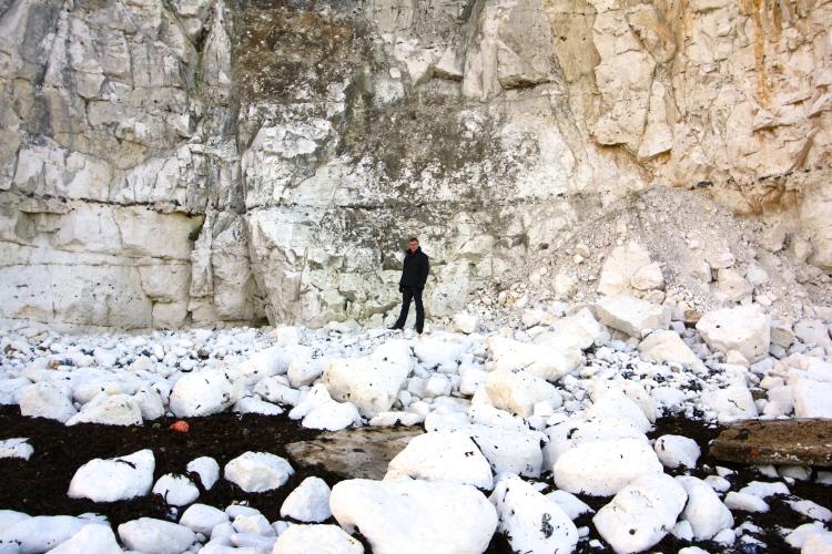 Chalk cliff fall between Dumpton and Ramsgate, December 2013