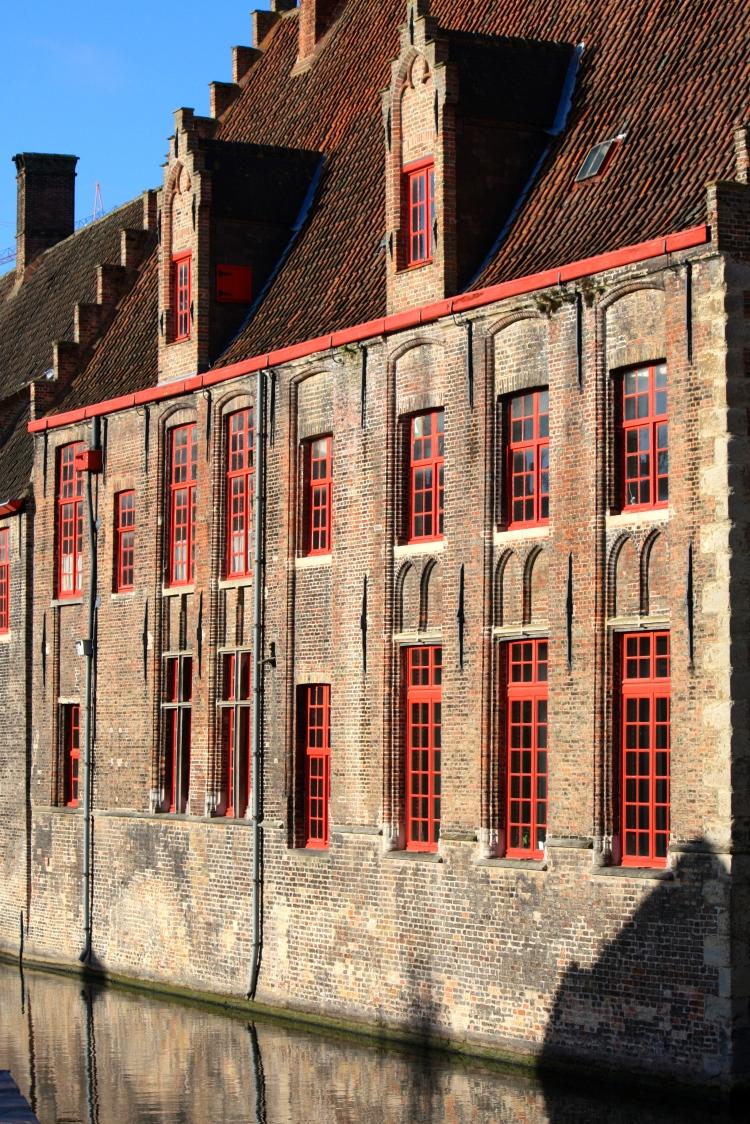 Canalside buildings in Bruges, Belgium, Feb 2014