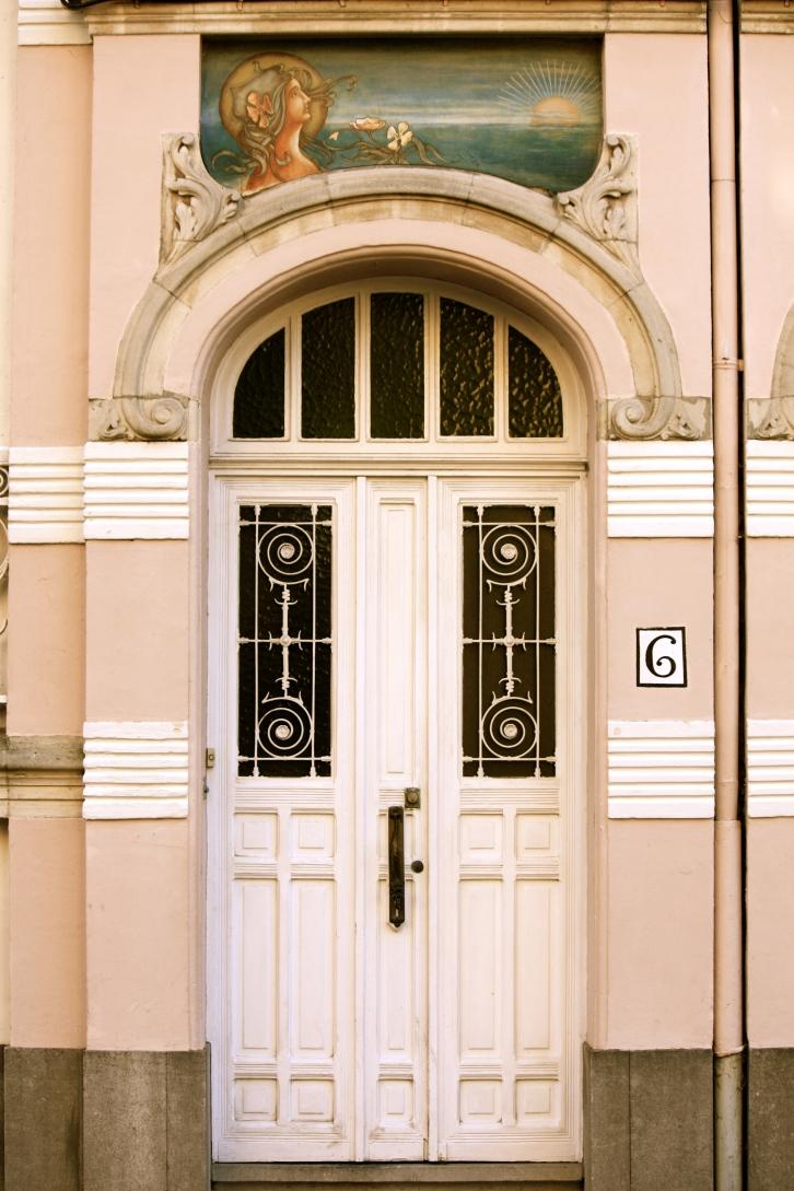 Art Nouveau doorway, Bruges, Belgium
