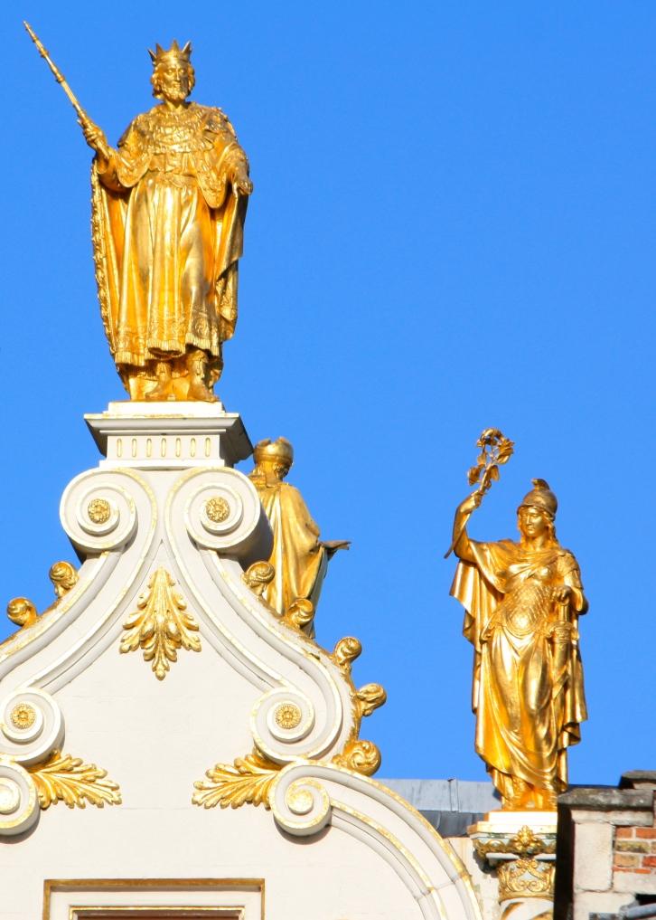 Gilded statues in Bruges, Belgium, Feb 2014