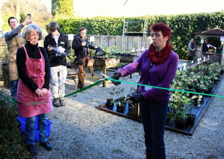 Wendy Perry and Tracy Wilson opening Bosvigo Hellebore Day, Feb 2014