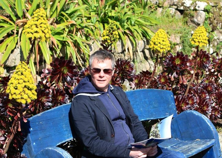 Him Indoors surrounded by Aeonium arboreum 'Zwartkop', Tresco Abbey Gardens, April 2014