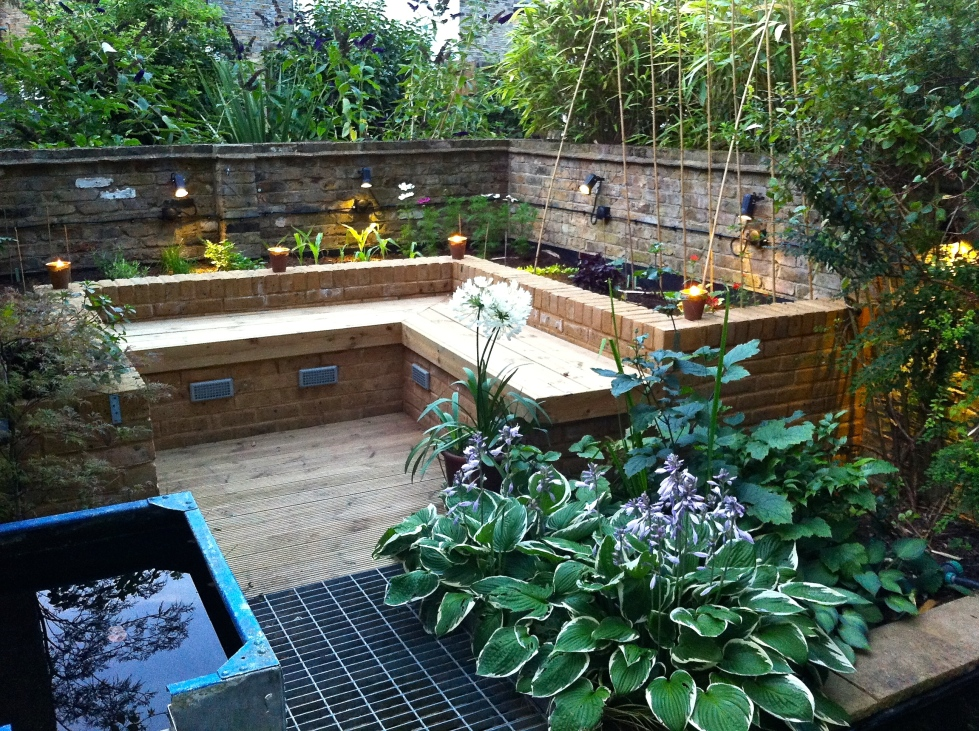 Various forms of lighting mean that we can enjoy the garden in the evenings