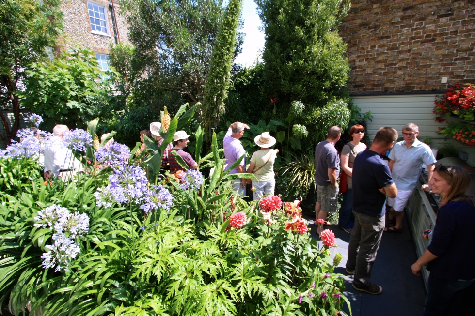 The garden was thronged with visitors on both days