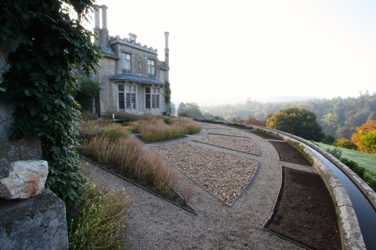 Endsleigh's parterre is currently filled with a simple mix of bedding and neutral pebbles