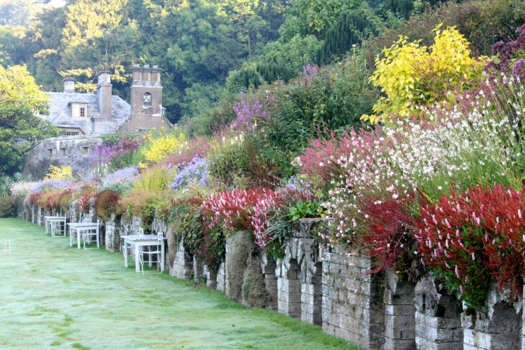 The long border is planted to give hotel guests enjoyment throughout the growing season
