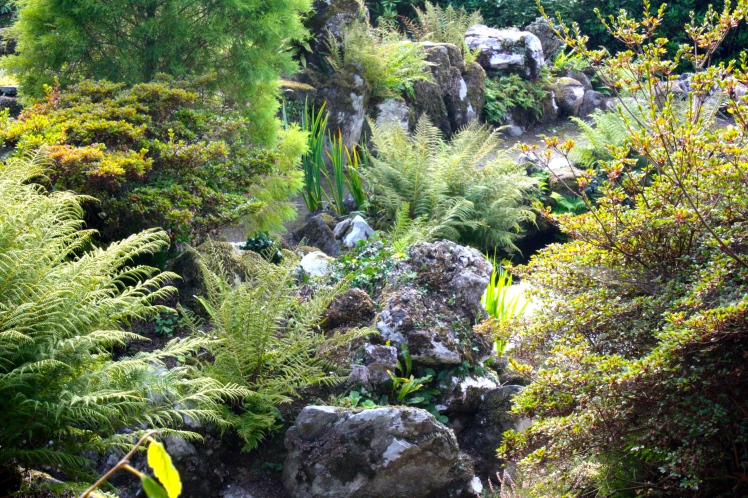 The fabulously complex rockery is made up of stone from all over the country, barged up the Tamar to Endsleigh