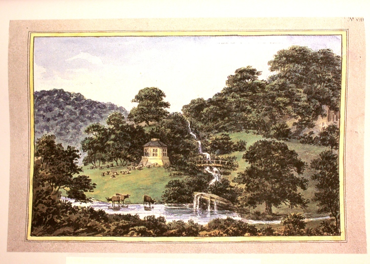 Apart from the tumbling stream, which was constructed further to the right of the dairy, this scene is recognisable today