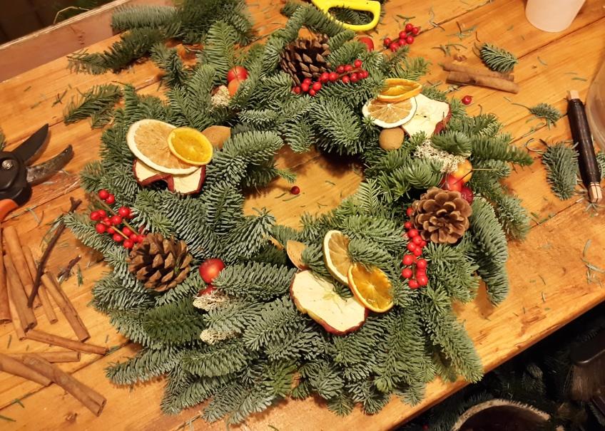 Christmas wreath making, November 2014