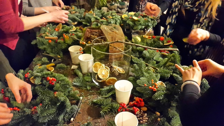 All fingers and thumbs - our group of enthusiastic bloggers gets nimble with the noble fir