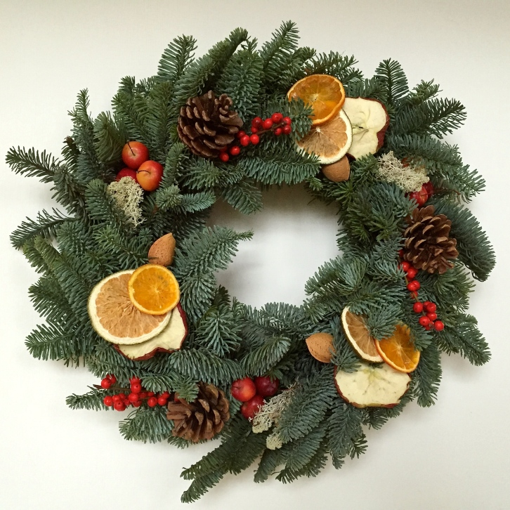 Maybe a little on the bushy side, but I love my home-made wreath