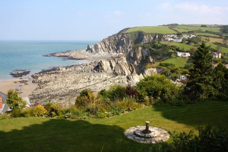The garden at Cliffe (now closed to the public) overlooks the sublime Lee Bay