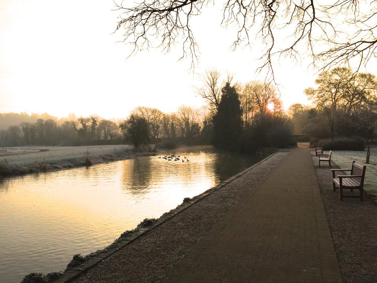 As the sun rose, a silken mist hovered above the still waters of the Thames