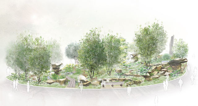 The layout of the Laurent-Perrier garden suggests it may occupy the Rock Bank site