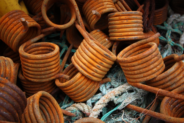 Rusty coils, Polperro, Cornwall, April 2015