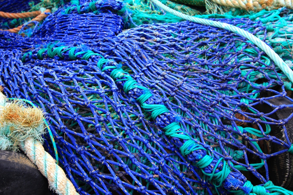 Blue and aqua net, Polperro, Cornwall, April 2015