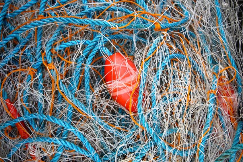 Blue net, red float, Polperro, Cornwall, April 2015