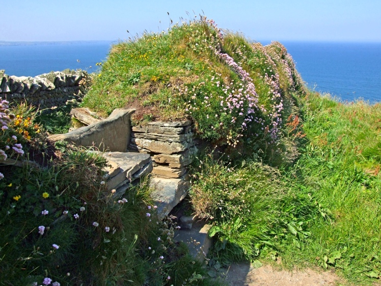 An example of a coastal Cornish hedge with stile