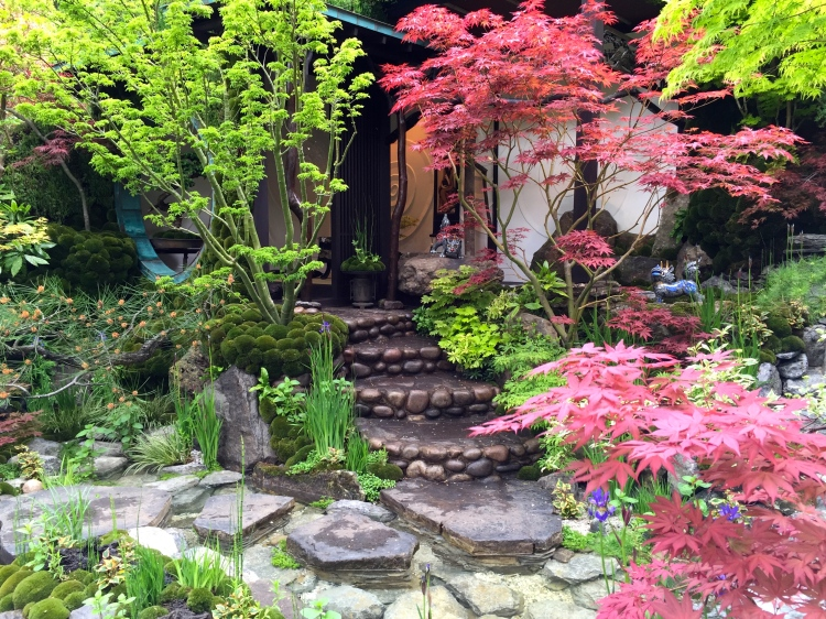 Acers shade cobble steps leading to the tea house