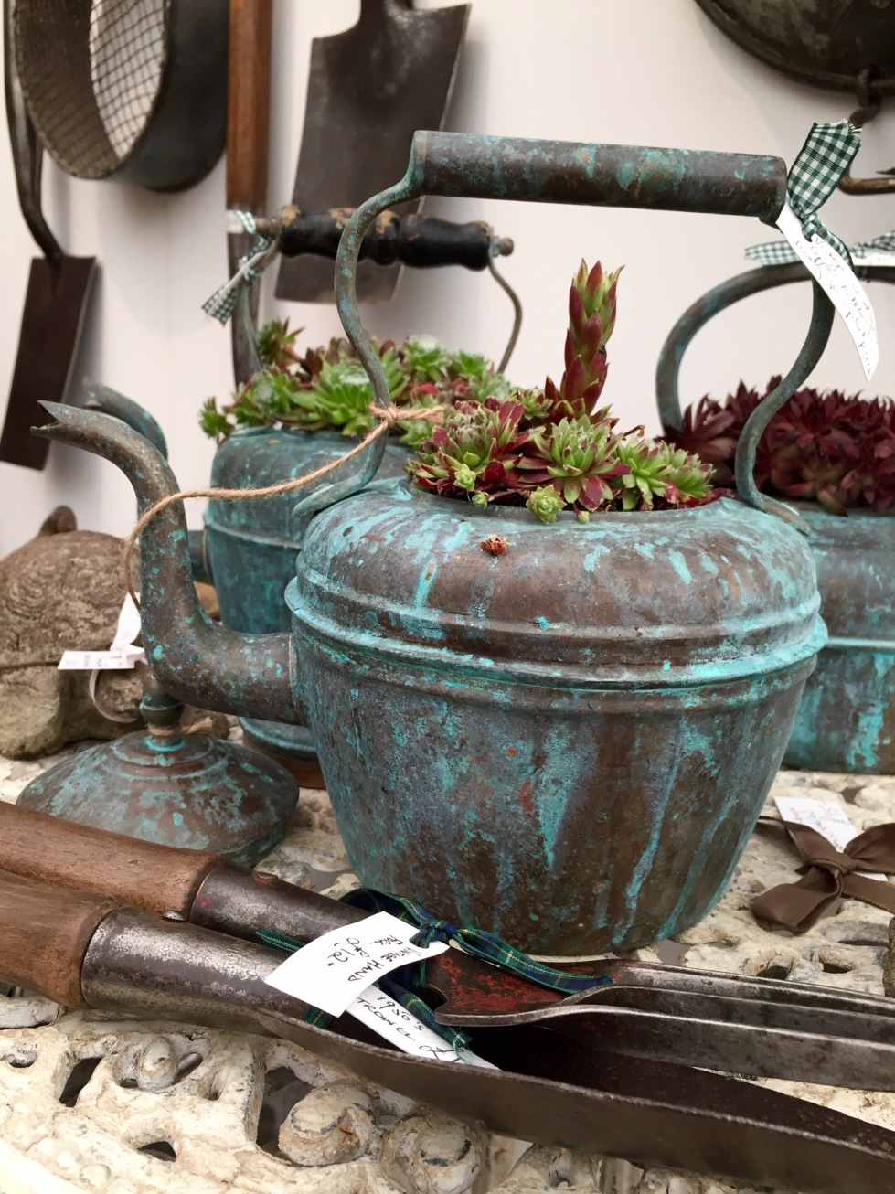 Planted vintage teapot, Grow London, June 2015
