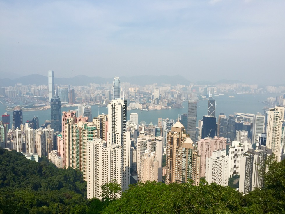 The much-photographed view from The Peak across Victoria Harbour to Kowloon
