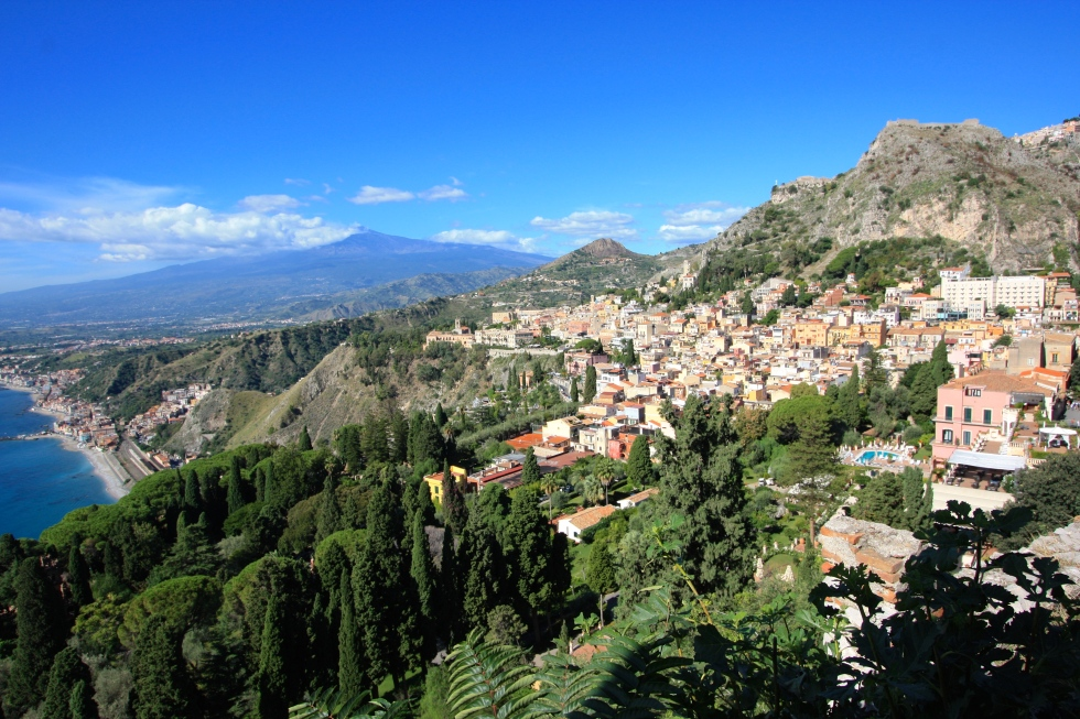 View past Taormina towards Mount Etna, Sicily
