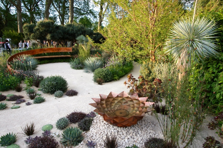 A spiky water bowl created by Giles Raynor is surrounded by a variety of succulent plants and restios