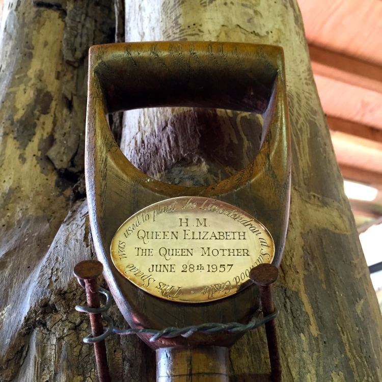 Well polished: the spade used by Her Majesty The Queen Mother to plant one of Saltwood Castle's finiest trees.