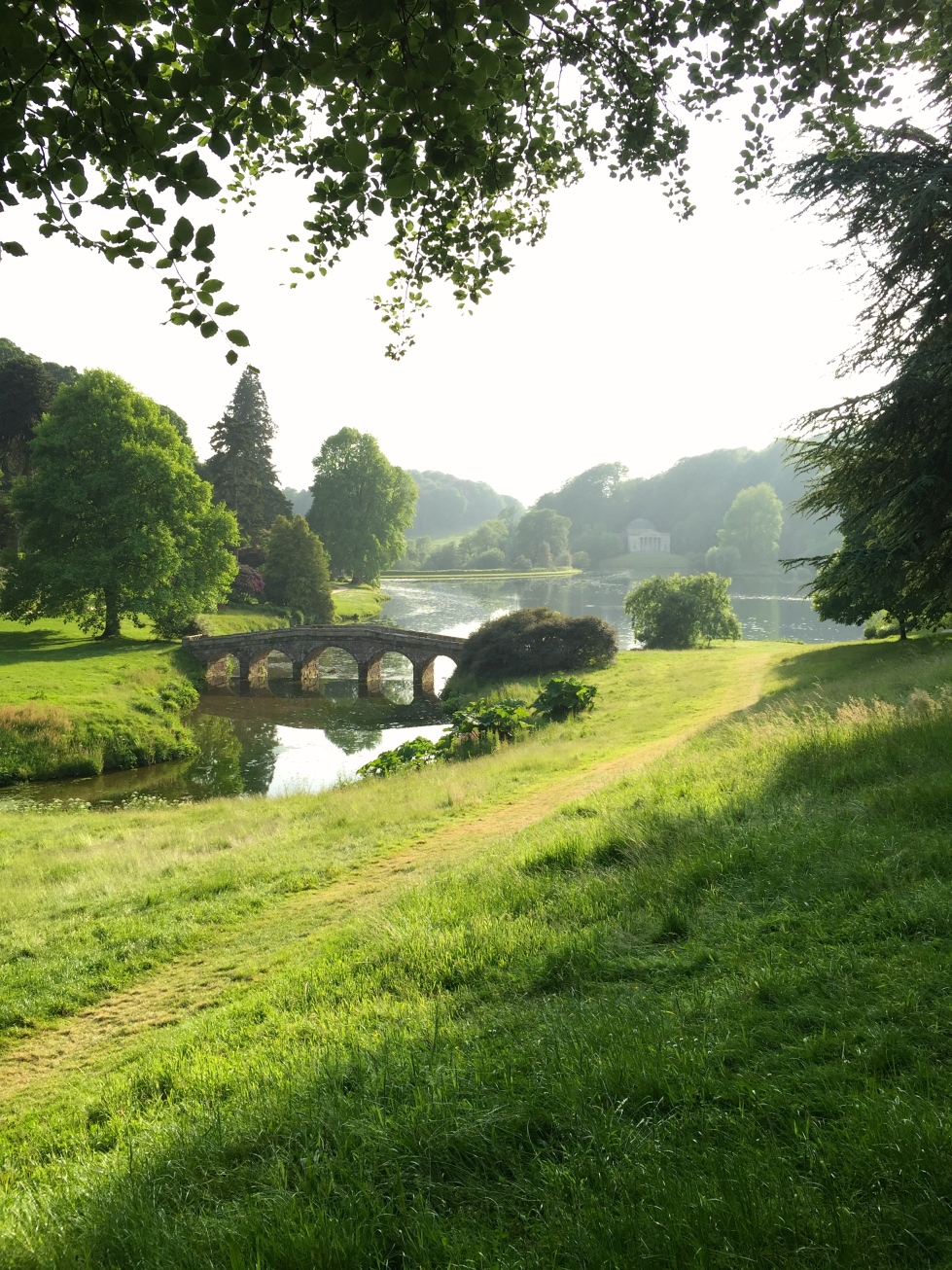 A view across the Palladian Bridge towards Flitcroft's Pantheon, completed in 1754