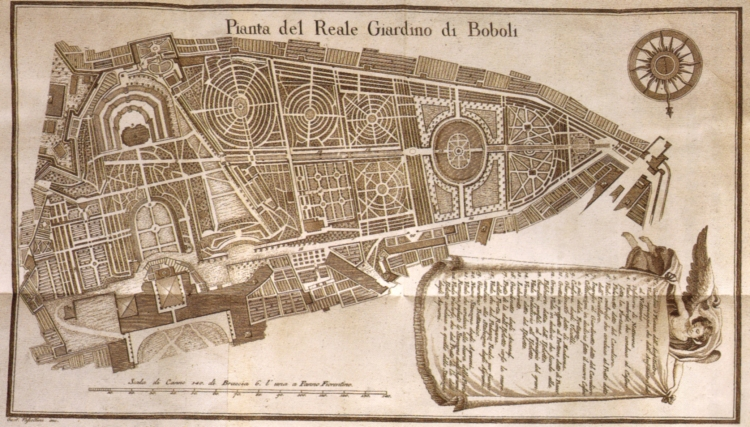 Map of the Boboli Gardens in 1790, clearly depicting the three complex labyrinths