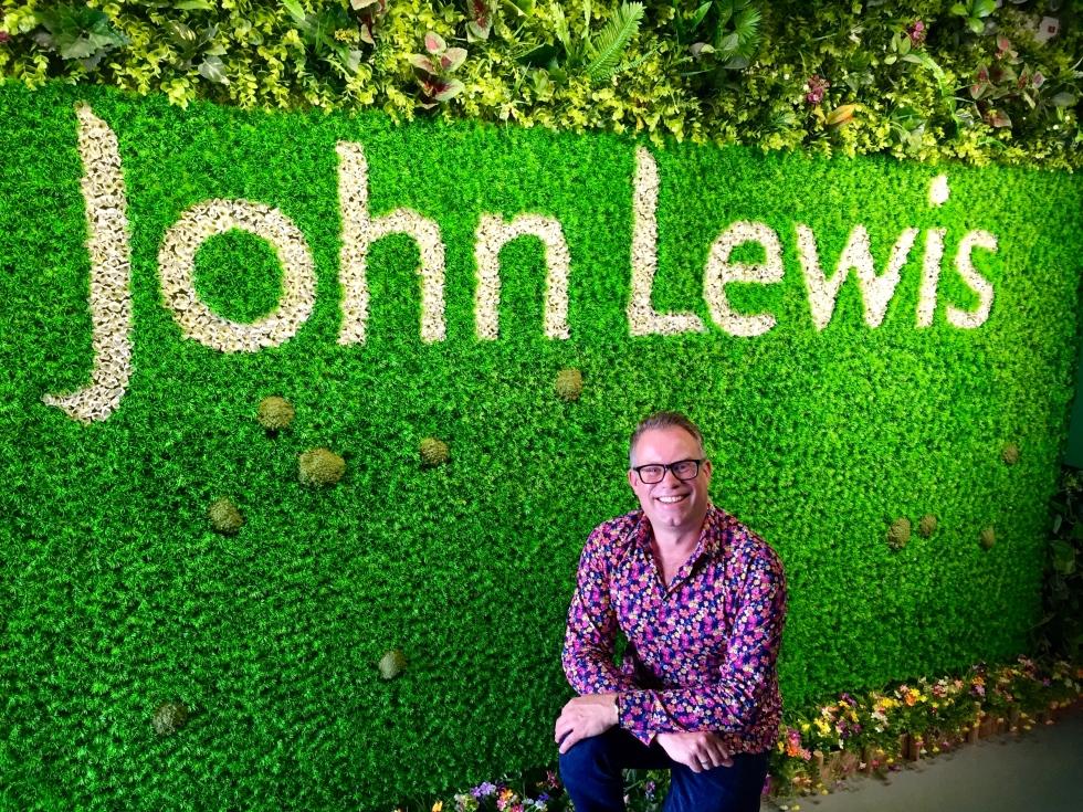 John Lewis logo in plastoc flowers, Shenzhen, Oct 2016