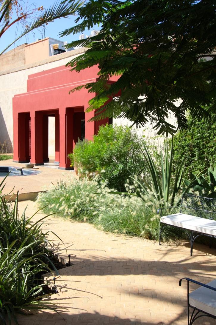 New pavilion in the exotic garden, Le Jardin Secret, Marrakech, September 2016