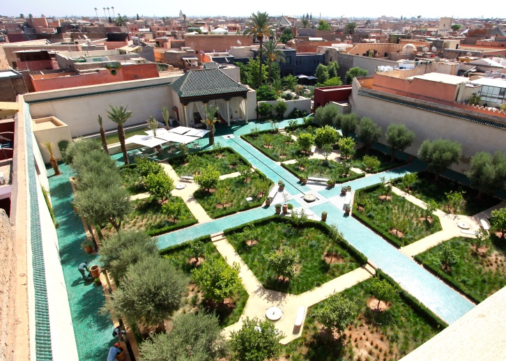 Aerial view of the Islamic garden, Le Jardin Secret, Marrakech, September 2016