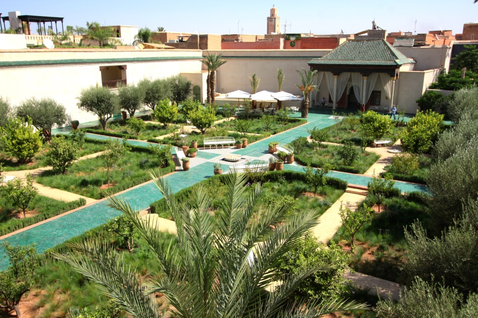 Panorama of the Islamic Garden, Le Jardin Secret, Marrakech, September 2016