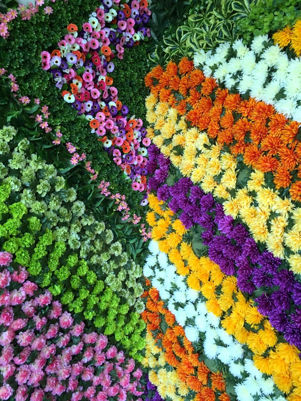 Plastic flower wall, Shenzhen, China, October 2016